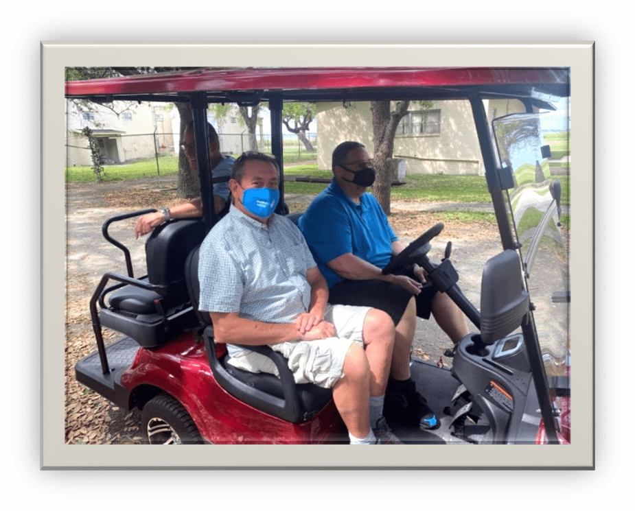 They are using the new golf cart we received through the generosity of a charitable foundation. Thank you! & God Bless!